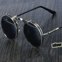 Gafas De Sol Steampunk redondas De Metal OCULOS De Sol estilo Retro Flip Circular doble Metal gafas De Sol hombres círculo gafas De Sol