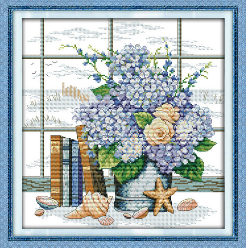 <font><b>Elegant</b></font> window flowers <font><b>home</b></font> <font><b>Decor</b></font> painting counted or stampted 11CT 14CT kits Cross Stitch embroidery needlework Sets free ship