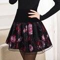 Женская плиссированные пу юбка пуховкой юбка высокая талия Большой размер юбка до середины бедра короткая юбка тонкий проливает женский 2016 новинка JX315
