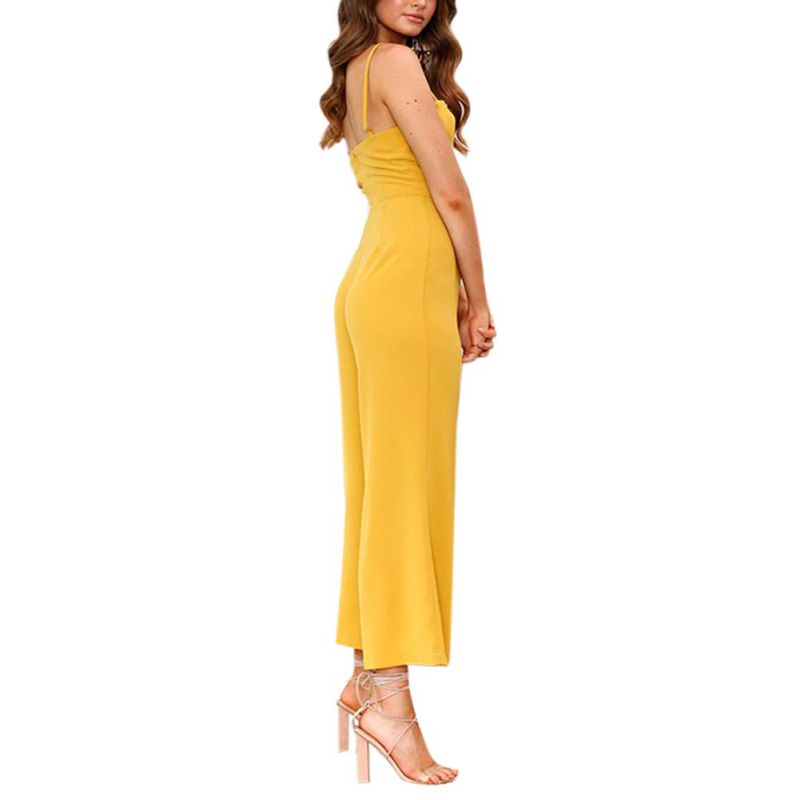 New Fashion women jumpsuits wide leg pants Sexy strap wrapped chest zipper rompers summer playsuits for women