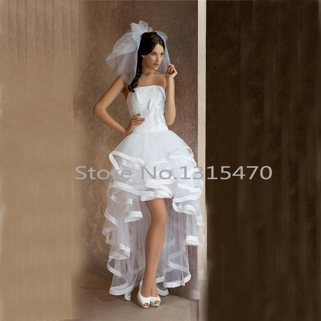 ddb5ce31b4c Sexy Tulle Applique Strapless Short Beach Wedding Dresses With Hi Lo White  Bow A Line Vestidos De Novia Boho Bridal Gowns