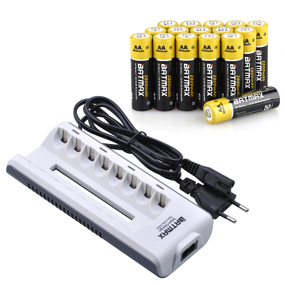 20 Pcs AAA NiMH Rechargeable Batteries 1100 mAh + 8 Slots AA/AAA Batterie Chargeur Kits pour Télécommande jouets Caméra Microphone