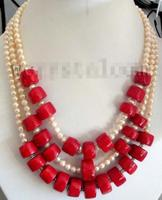Multi Layer Natural Pink Cultured Pearls Red Coral Necklace