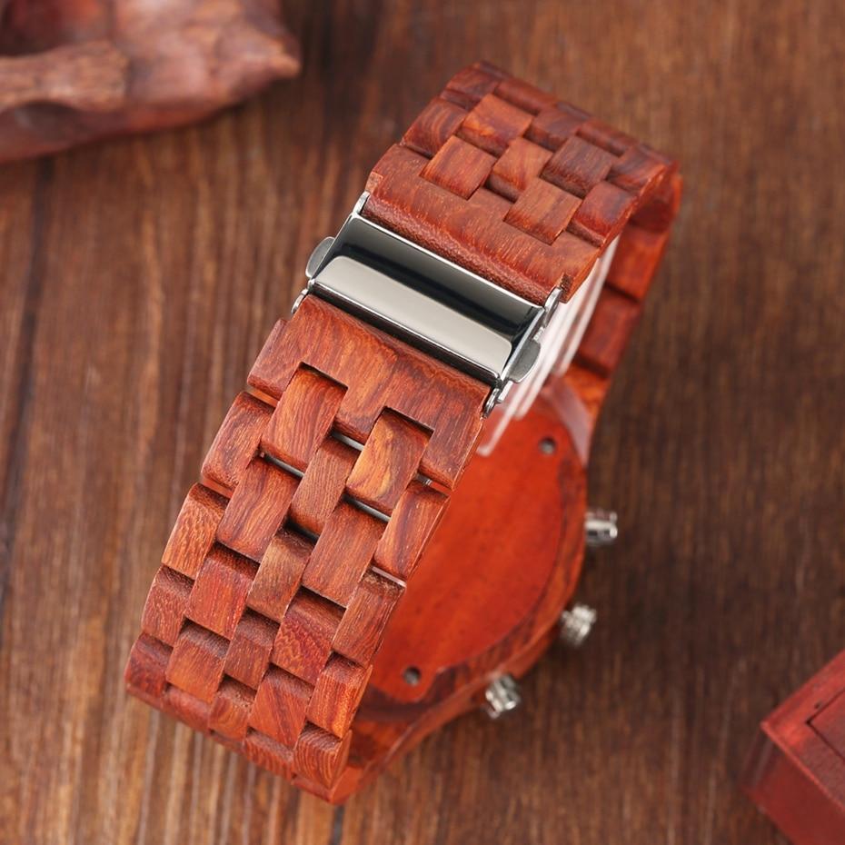 Wooden Watch Men erkek kol saati Top Luxury Stylish Redwood Timepieces Chronograph Military Date Calendar Quartz Watches for Men 2019 2020 2021 2022 (22)