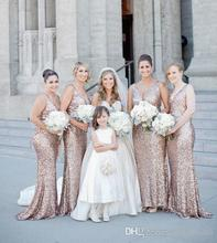Hot Sale 2016 Gold Sequins Long Bridesmaid Dresses Bling V Neck Formal Wedding Party Prom Dress Cheap Bridesmaid Gowns B13