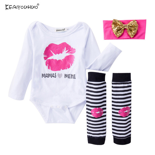 Newborn Clothing Sets New Fashion Baby Girl Clothes Cotton Infant Baptism Clothes Girls Lip Print Pattern Costume Children Suits