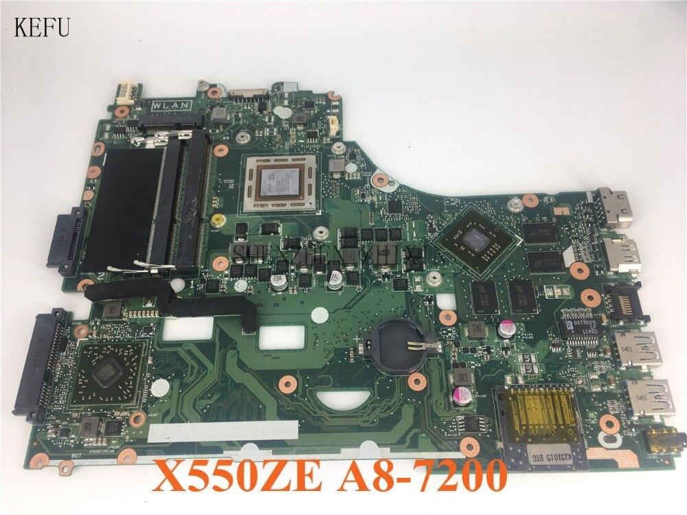 KEFU Pour ASUS X550ZE K555Z A555Z X555Z X750/X550 mère D'ordinateur Portable A8-7200 CPU Carte Mère avec carte graphique bon test