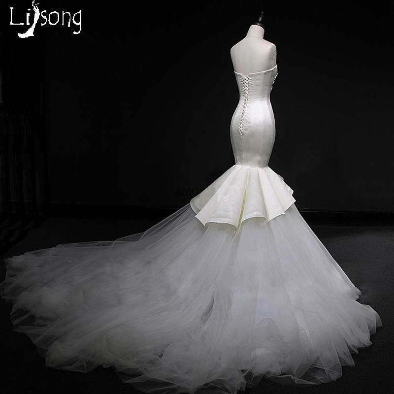 Chic Ivory Beading Mermaid Wedding Dress Long Sheath Custom Made Tulle  Puffy Hemline Bridal Formal Gowns Vestido de Casamento d2d2ed862cdd