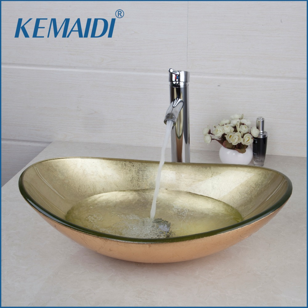 KEMAIDI New Hand Painted Gold Bathroom Washbasin Bath Set Faucet Mixer Taps Tempered Glass Basin Veseel Faucets Chrome Finished 2017 wholesale new premium high quality gold bidet mixer faucet taps