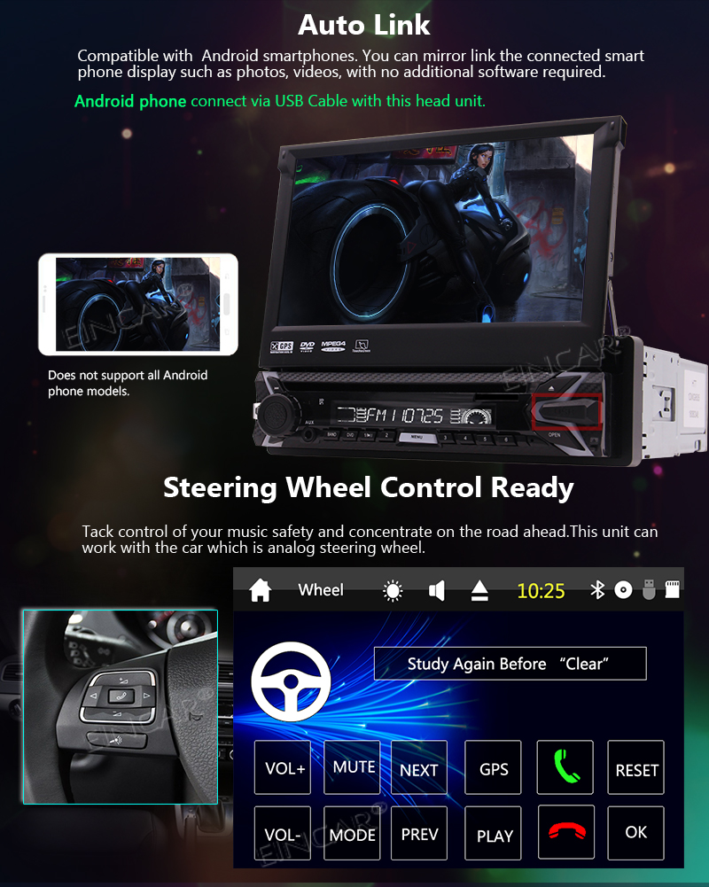 Flash Deal Capacitive Touch Screen Wince System Single 1 Din Car Stereo DVD Player Support GPS Navigation/USB/SD/Cam-in/Bluetooth/Steering 6