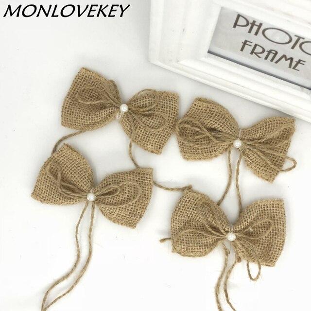 10pcs Natural Jute Burlap Hessian Flower Pearl Bow Handmade Rustic