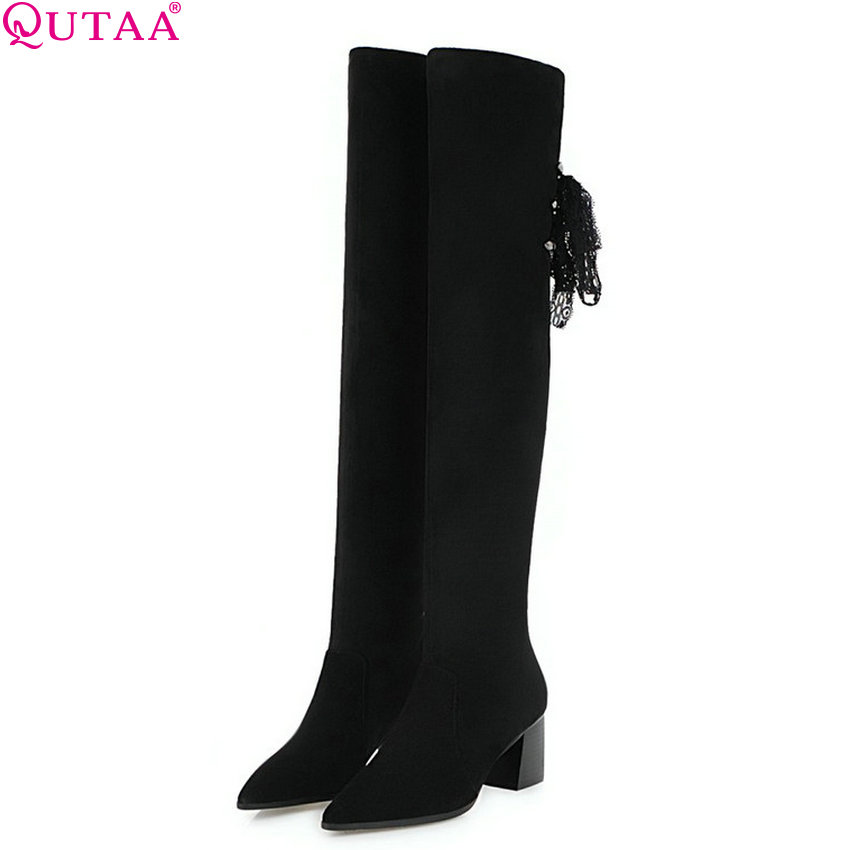 QUTAA 2019 Women Motorcycle Boots Cow Suede Elegant Black Over The Knee High Boots Fashion Winter
