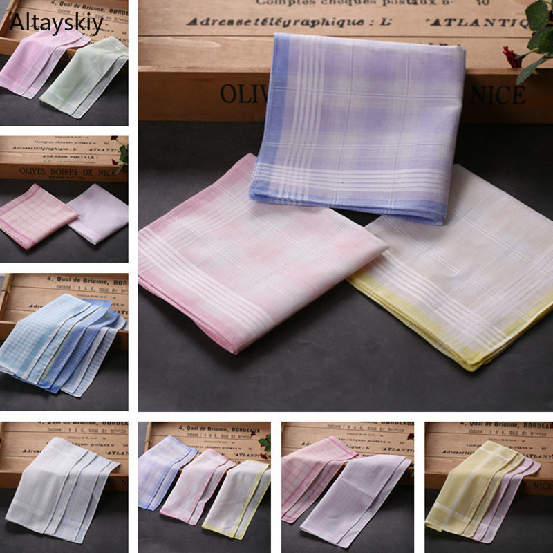 Handkerchiefs Women Soft Cotton Simple Plaid Trendy Womens Elegant Pocket Square Towel Casual Ladies Handkerchief All-match Chic