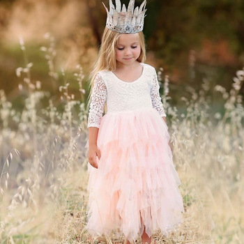 Summer Lace Girl Dress 2019 White Backless Girls Teenage Princess Dress Irregular Tutu 2-8 Years Pink Children Dresses Pink 3