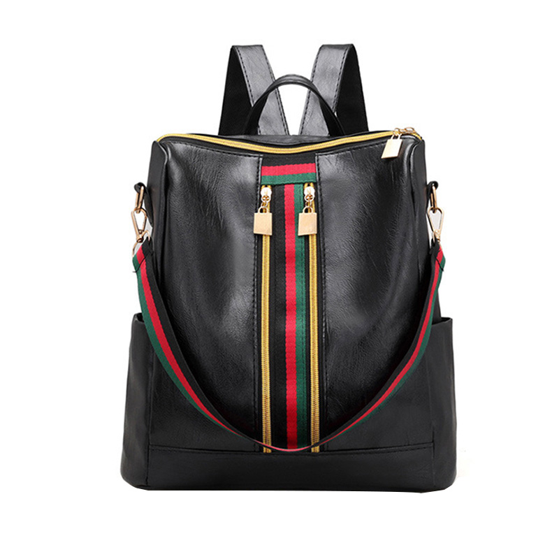 Trend Women Backpacks Bag Casual Stripe Zipper Women Bag Fashion High Quality Simple Young Students Bag