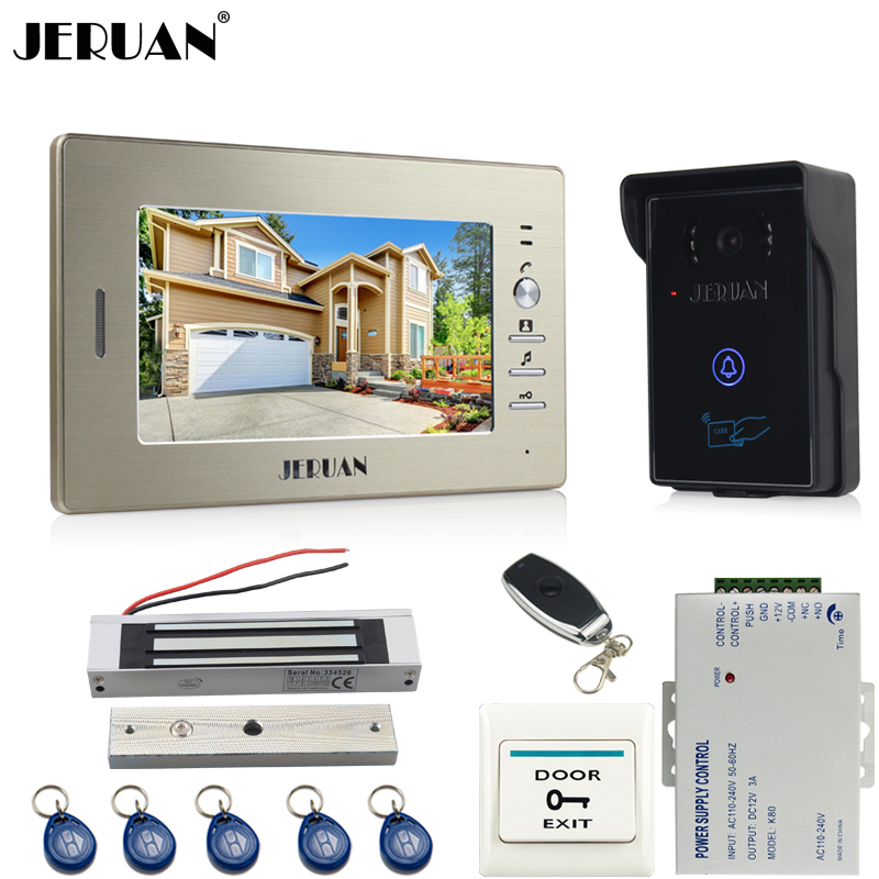 JERUAN 7`` LCD video door phone intercom system kit 1 monitor RFID touch key waterproof IR Camera 180KG Magnetic lock In stock rfid keyboard ip65 waterproof video doorphone intercom system for 3 apartments with 7 color lcd video intercom system in stock