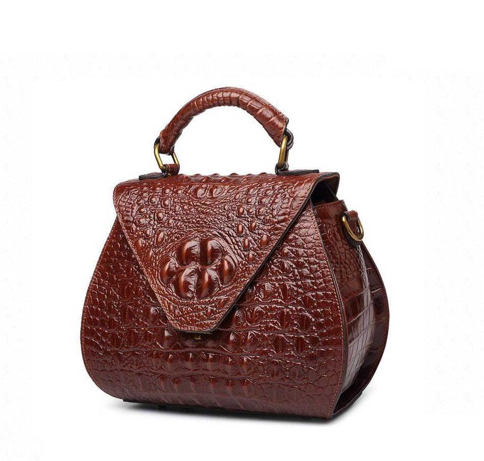 cb4ab43566 Genuine Leather Women s handbags Trend crocodile pattern small square bag  Fashion handbag Shoulder bag Messenger bag