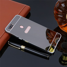 For OPPO F9 case Luxury Rose Gold Mirror Aluminum Back Cover F7 F5 F 5 Metal Plating Frame Phone Shell Coque Fundas