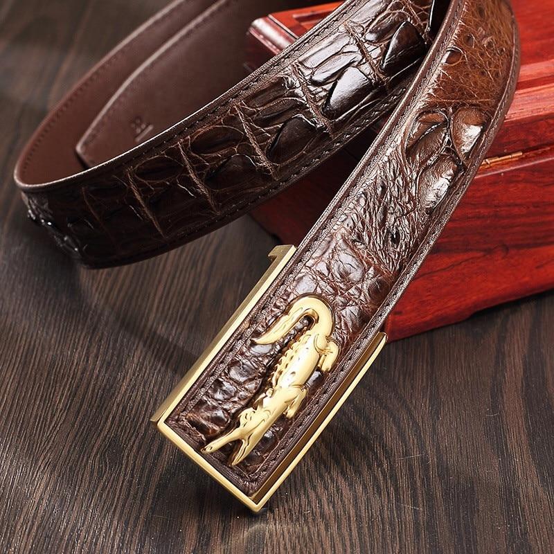 Men Automatic Buckle Leather luxury Belt Business Male Alloy buckle Belts for Men Ceinture Homme,W,120cm