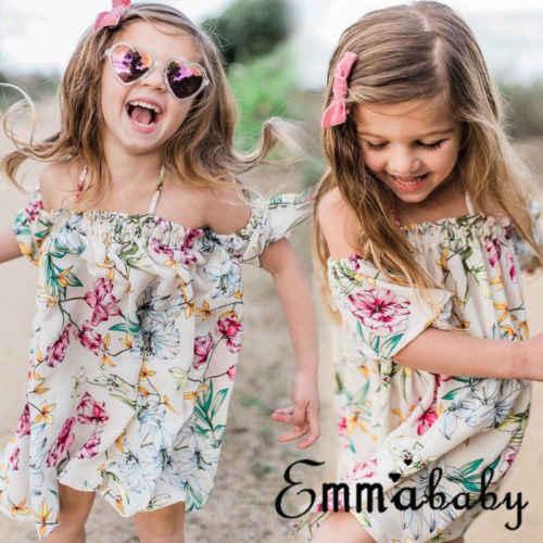 Boho שמלה פרחונית תינוקות בנות ילד סגנון חדש כבוי כתף שרוול קצר השמלה הקיצית בגדי חוף חופשת קיץ נסיכת ילדה ילד