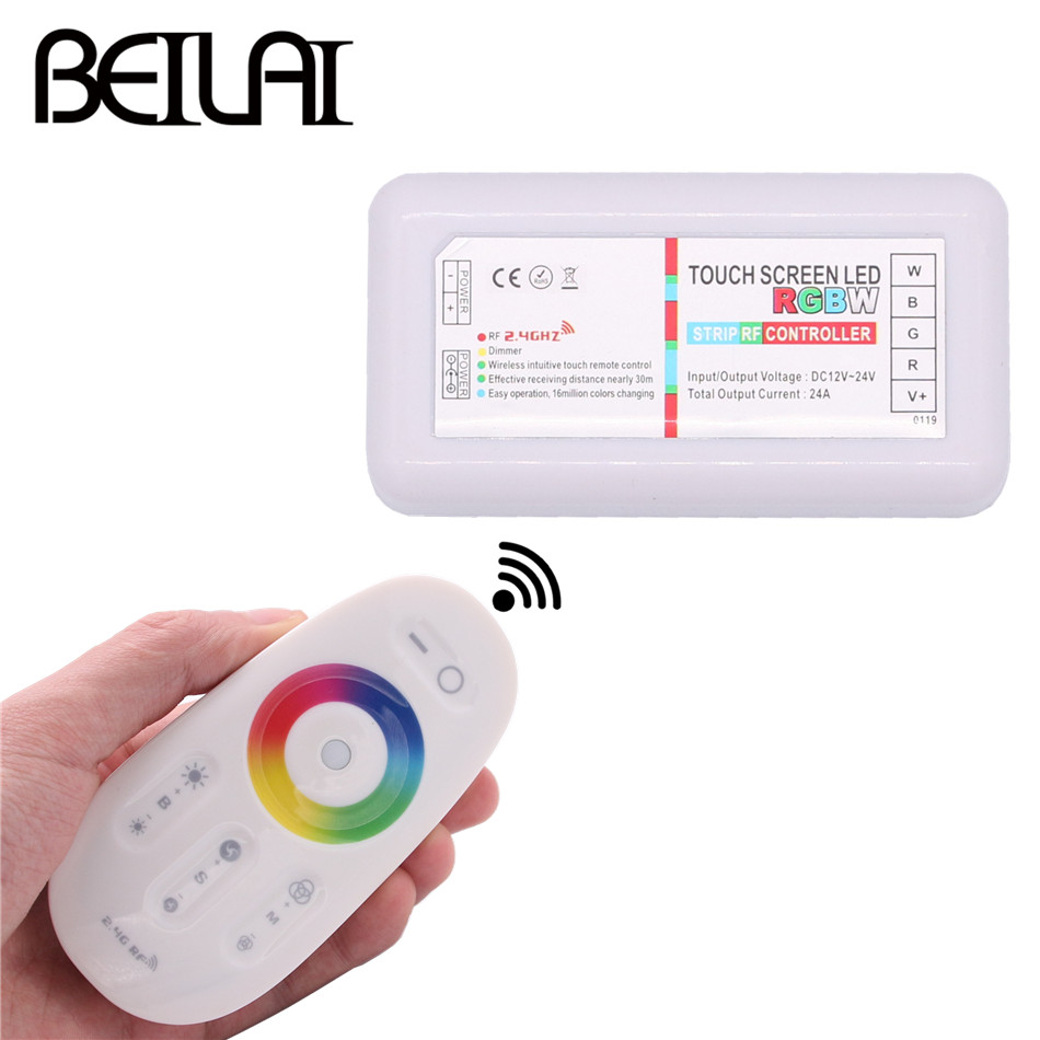 BEILAI 2.4G RGBW LED Controller Touch Screen DC 12-24V 24A 4Channels RGBW Remote Controller For 5050 RGBW LED Strip Light