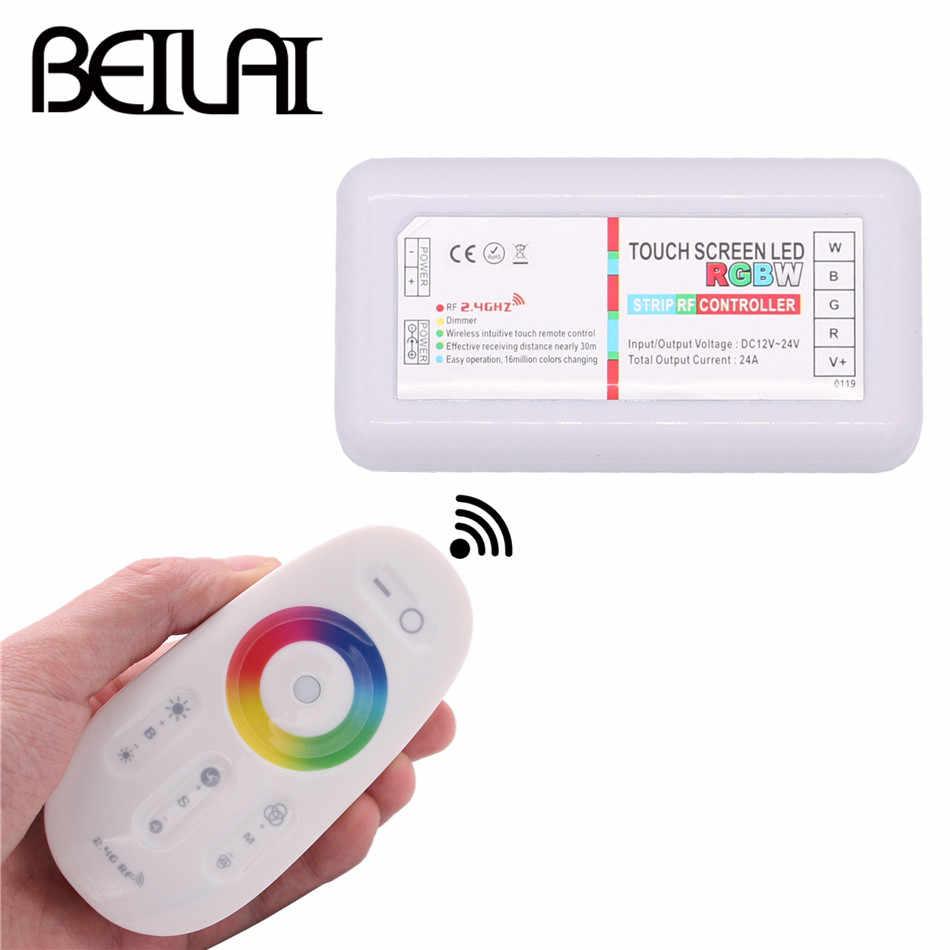 BEILAI 2.4G RGBW LED de contrôle écran tactile DC 12-24V 24A 4 canaux RGBW télécommande pour 5050 RGBW LED bande lumineuse