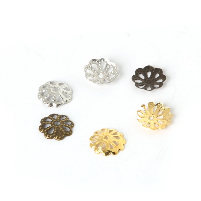 5000pcs Iron Filigree Flower Bead Caps Hollow Yellow Gold Wholesale Spacers 9mm