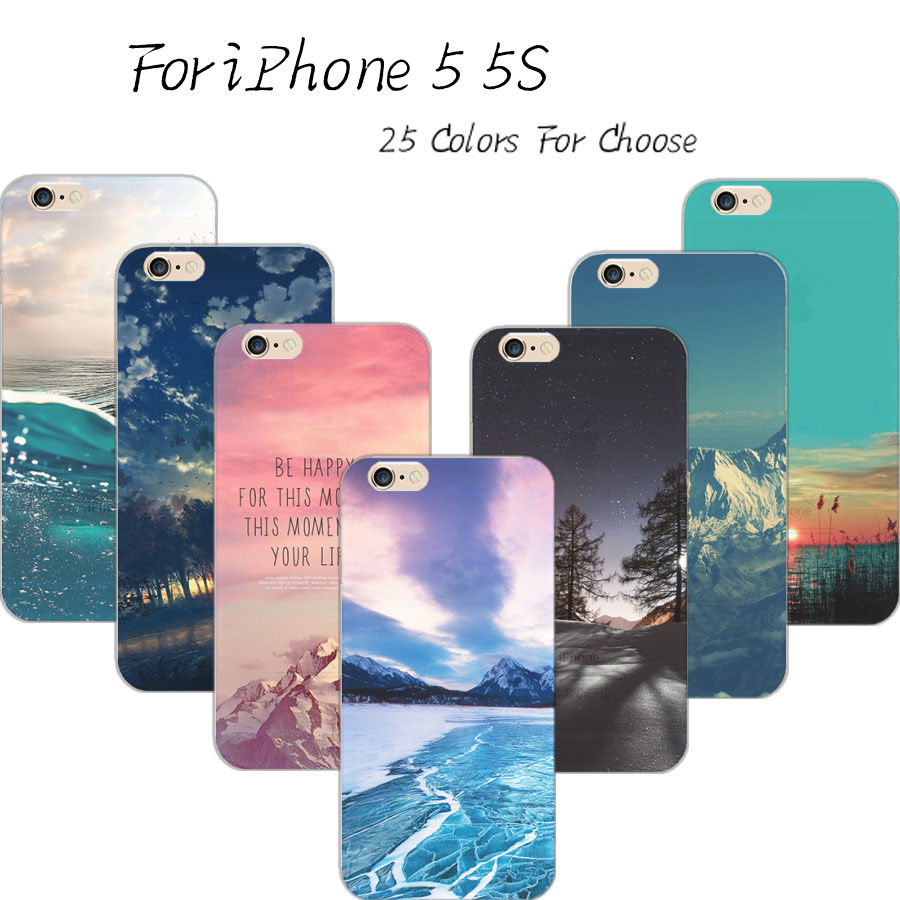 5/5S Painting Beautiful Scenery Elk Silicon Cover For Apple iPhone 5 iPhone 5S Cases Case For Phone5S Phone Shell 2016 Best Hot