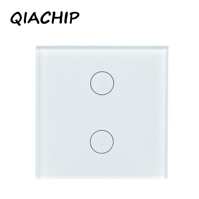 QIACHIP EU Remote Control Switch 2 Gang 1 Way Smart Home Touch Wall Light Switch Luxury Crystal Glass Panel Surface Waterproof qiachip remote control switch 2 gang 1 way uk eu smart wall touch switch led indicator crystal glass switch panel smart home