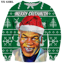 YX Girl New Gift Clothes Merry Christmas Tyson 3d Printed Mens Sweatshirt Men Pullover Funny Streetwear Polyester Outfits Tops