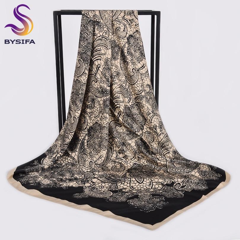 [BYSIFA] Women Black Beige Large Square Scarves Wraps Winter Fashion Dull Satin Silk Scarf Shawl Elegant Ladies Neck Scarf Hijab
