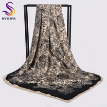 [BYSIFA] Women Black Beige Large Square Scarves Wraps Winter