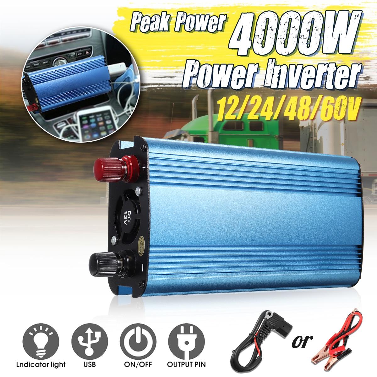 KROAK 4000W Peak Power Car Power Inverter Charger Sine Wave DC 12V/24V/48V/60V To AC 220V Inverter Voltage Converter 4000w peak w 4 usb car power inverter 2000w dc 12v to ac 220v charger converter car led power inverter 4000w dc 12v to ac220v