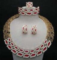 Austrian Crystal Jewelry Set Band 18K Gold Plated Wedding Bridal Rhinestone Necklace Earring Sets Bangle Ring