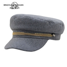 где купить Autumn Winter Fashion Woolen Military Hat Warm Sailor Hat For Women Men Black Grey flat top Female travel cadet hat Captain Cap по лучшей цене