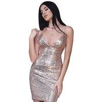 2017 Backless Deep V Sequin Sexy Bodycon Women Rose Gold Luxury Sundress Short Dress Night Club
