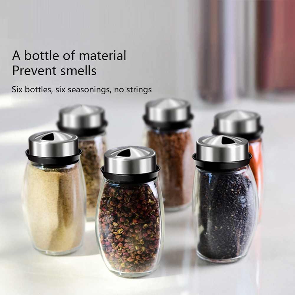 6 sztuk/zestaw obracanie ze stali nierdzewnej Cruet przyprawa słoiczki na przyprawy zestaw solniczki i pieprzniczki przyprawy spraye narzędzia kuchenne
