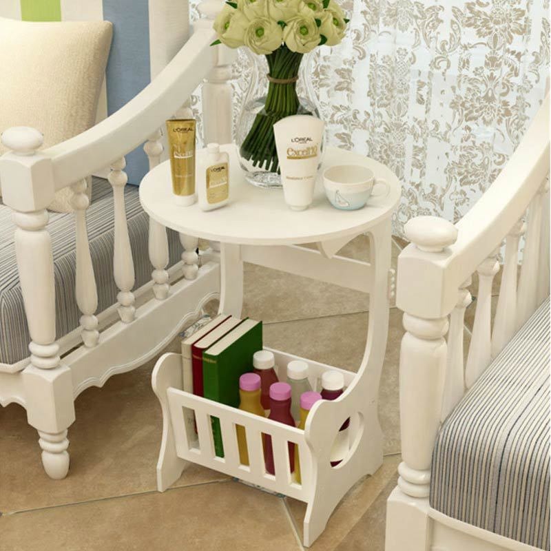 round coffee table  tea desk  side table end console table magazine rack 3
