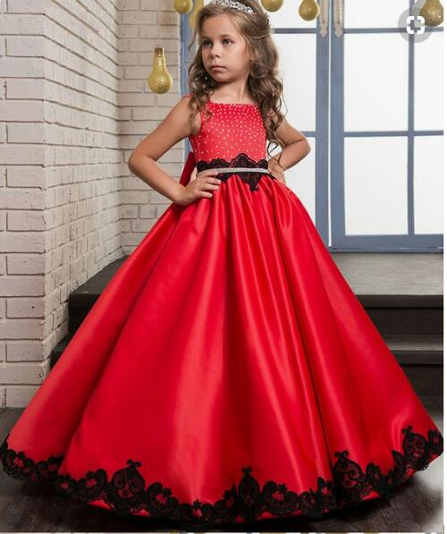 Red Flower Girl Dresses first Communion Dresses For Girls pageant dresses for girls 2018 high quality custom dress for girls girls dress girl top quality dresses 100