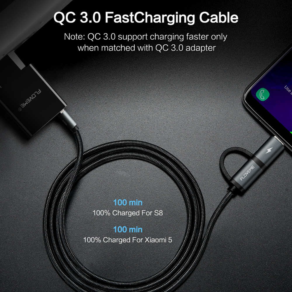 Floveme QC3.0 Usb Type C Kabel Voor Samsung Galaxy Note 9 S9 2.8A Micro Usb Kabel 2 In 1 Snelle lading Usb C Kabel Voor Redmi Note 7