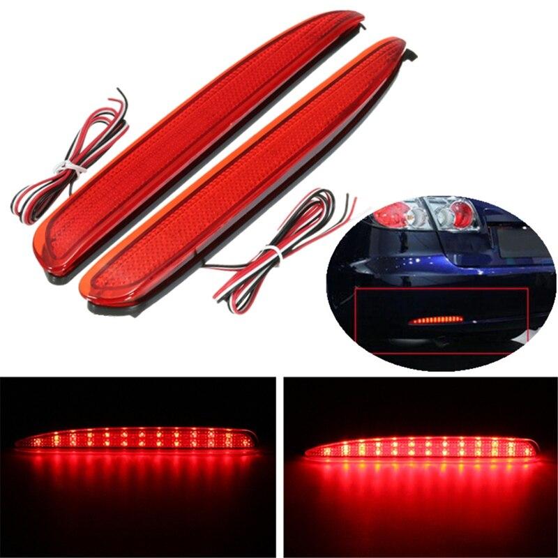 2Pc 24 LED Rear Bumper Reflectors Tail Brake Stop Running Turning Light For Mazda 6 03-08 Parking Warning Night Driving Fog Lamp