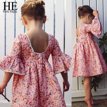 HE Hello Enjoy Girls Clothing Girls Dress Cotton Cute Toddler Kid Baby Girl Long Sleeve Floral Party Princess Boho Pageant Dress newborn baby girls floral long sleeve party pageant prom formal dress long sleeves girls cotton dress clothes
