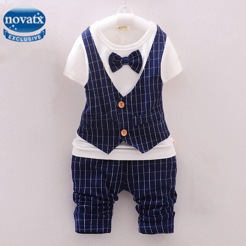 цена на Novatx costume child boy marriage baby sets bobo choses new summer formal short t-shirt and pants boys suits for weddings XCX01