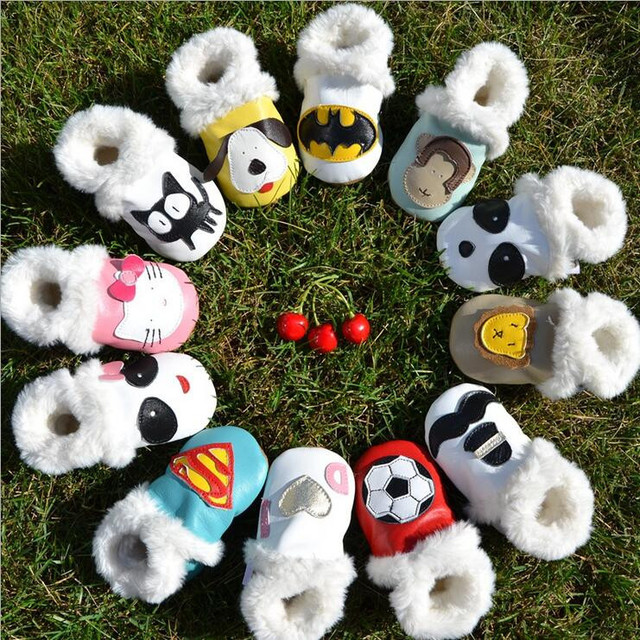 New cute warm fur boots High quality Cartoon baby moccasins Genuine sheep Leather soft sole baby shoes Animal infant Baby shoes