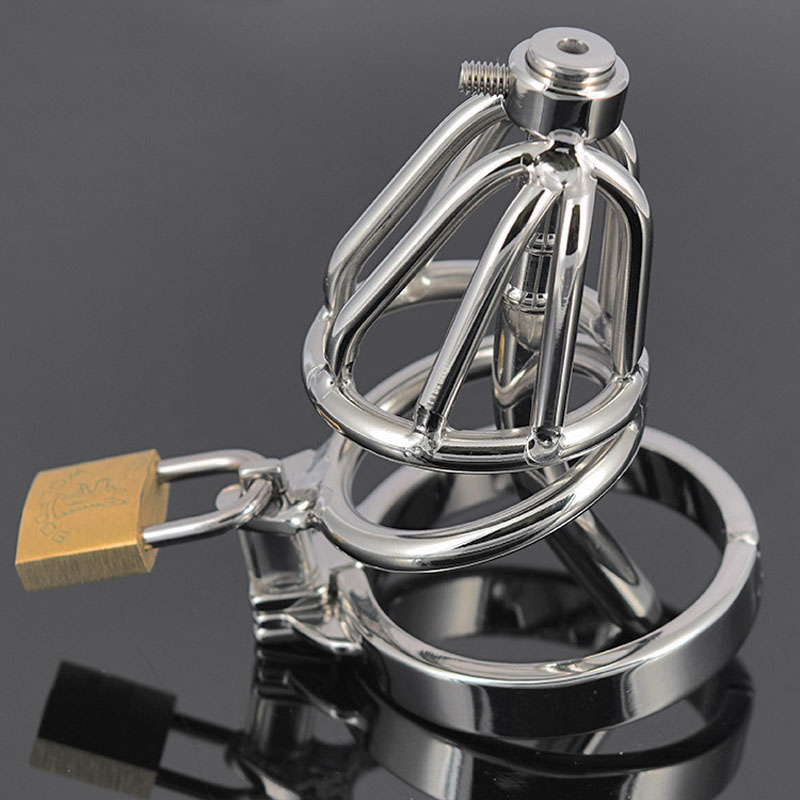 ФОТО New chastity metal urethral cock cage male chastity device,sex toys for men,5 size penis ring choose chastity cage