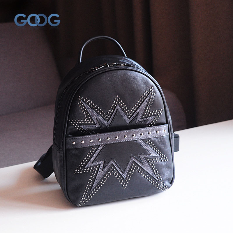 Korean version of the new first layer of leather rivets travel backpack fashion casual leather personalized tide packag qiaobao 2018 new korean version of the first layer of women s leather packet messenger bag female shoulder diagonal cross bag