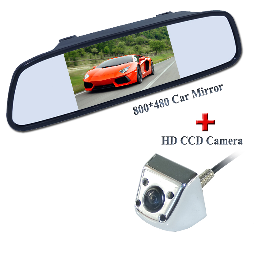 2 in 1 Auto Parking Monitor IR Reversing CCD Car parking backup reverse Rear View Camera + 5 HD 800*480 Car Mirror Monitor yaopei auto car reversing rear view backup camera parking assist oem vcb n501b vcbn501b