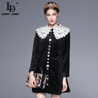 New 2017 Fashion Runway Winter Dress Women S Long Sleeve Lace Peter Pan Collar Metal Crystal