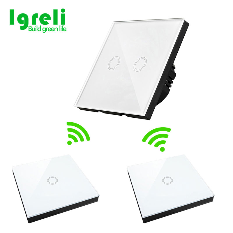 Igreli smart touch switch with free stickers wiring wireless dual control multi-control remote control switch panel igreli new touch switch wireless remote control for intelligent wall free sticker switches free wiring to receive rf433 signals