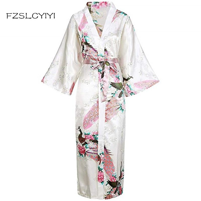 FZSLCYIYI White Women's Sexy Bride Wedding Robes Nightwear Robes Kimono Night Gown Printed Peacock&Floral Sleepwear Plus Size